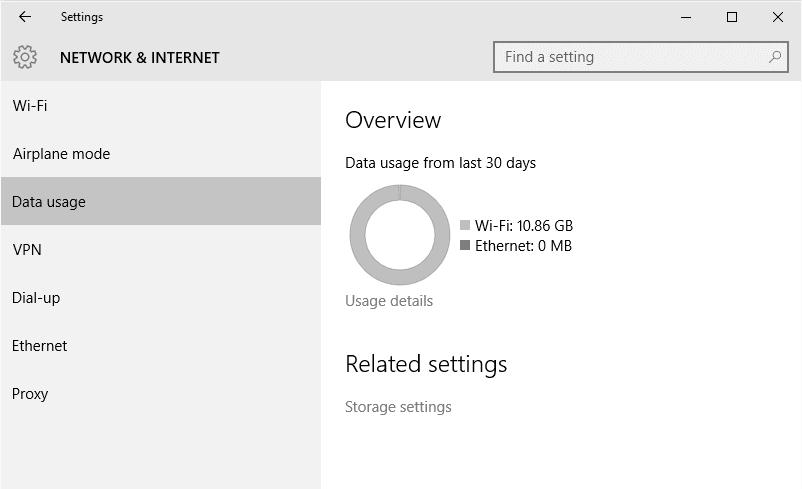 Data usage option on Network settings