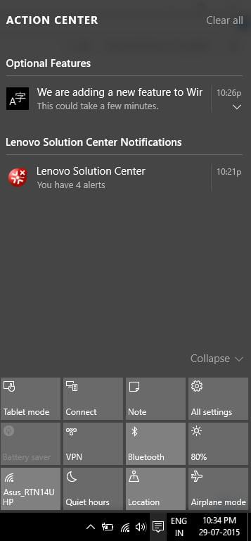 New Action Center added in Windows