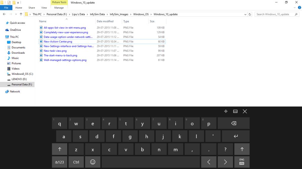 Full width on-screen Touch keyboard