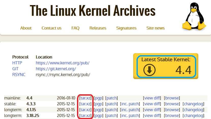 Linux kernel download link