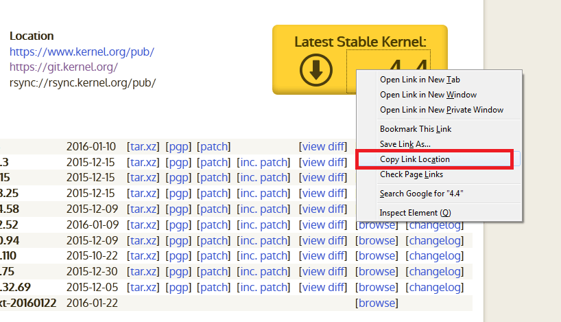 Copy download link of Linux kernel