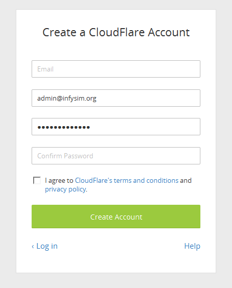 Signup for a free account on Cloudflare