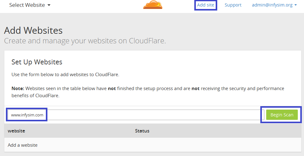 Add a website to your Cloudflare account