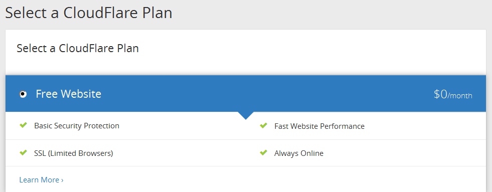 Choose the Free plan option on Cloudflare